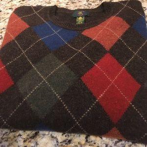 Wool Argyle Crewneck Sweater
